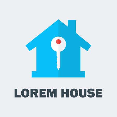 house logo: House with Key Logo. Vector Logo Design Concept