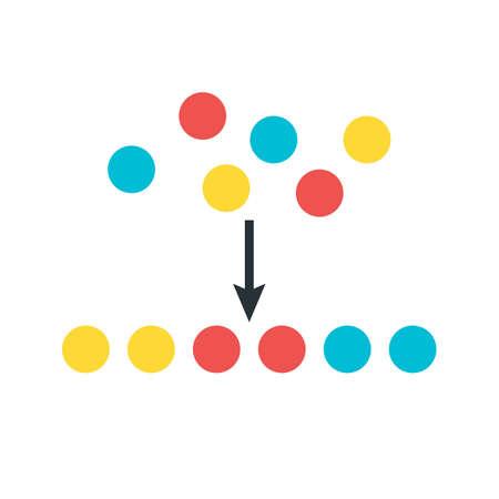sorting: Sorting Elements Illustration. Flat Stylized Vector Illustration Illustration