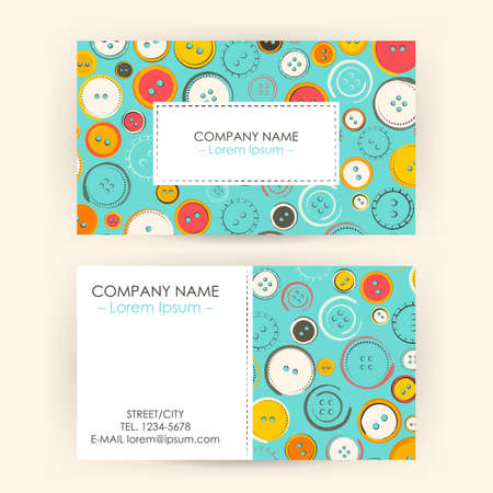 sewing button: Business Card with Sewing Buttons. Vector Illustration of Corporate Identity. Fashion Business Illustration