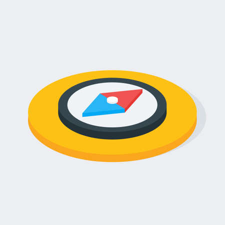 compass: Compass Isometric Circle Icon. Flat 3d Vector Illustration
