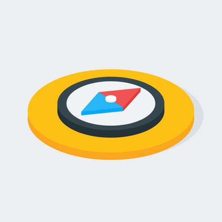 brujula: Icono de círculo isométrico Compass. Piso Ilustración Vector 3d