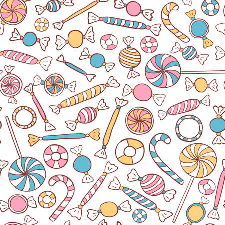 Candies Seamless Pattern Hand Drawn. Sweets Vector Background Vettoriali