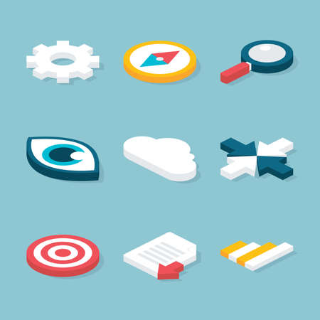 object: Flat 3D Website Isometric Objects Set. Vector Website and Business Concepts Icons Set