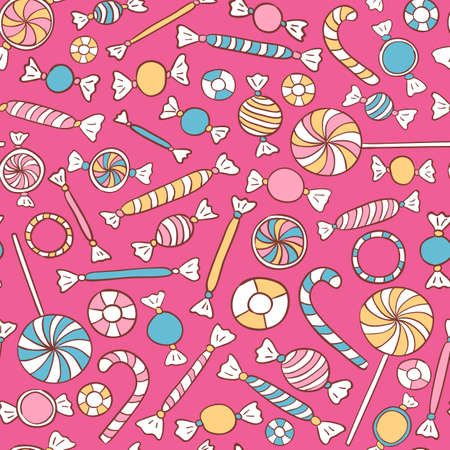 Sweets Colorful Seamless Pattern Hand Drawn. Candies Vector Background Vector
