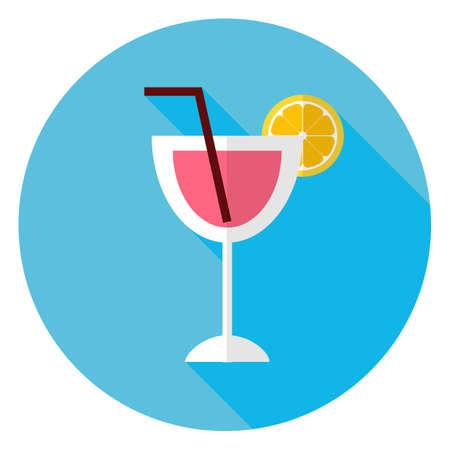 tubule: Flat Cocktail with Orange Slice and Tubule Circle Icon.  Illustration