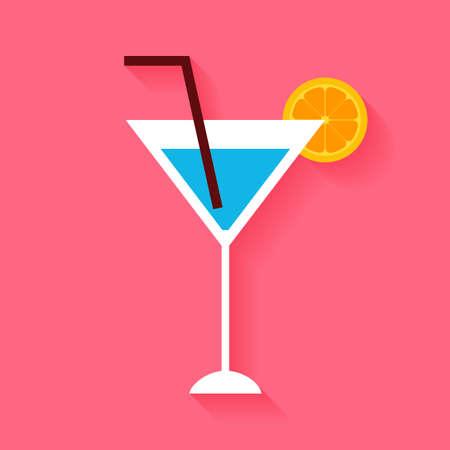 tubule: Flat Cocktail with Orange Slice and Tubule. Illustration