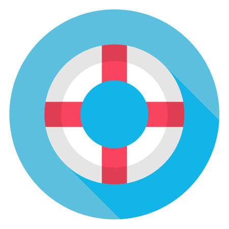 cinturon seguridad: Icono C�rculo plana Mar Lifebuoy con Long Shadow. Vectores