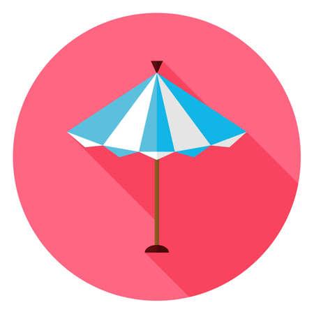 parasol: Flat Summer Sun Parasol Circle Icon with Long Shadow.  Illustration