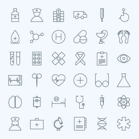 Line Healthcare and Medical Icons Set. Vector Set of 36 Medical and Healthcare Modern Line Icons for Web and Mobile