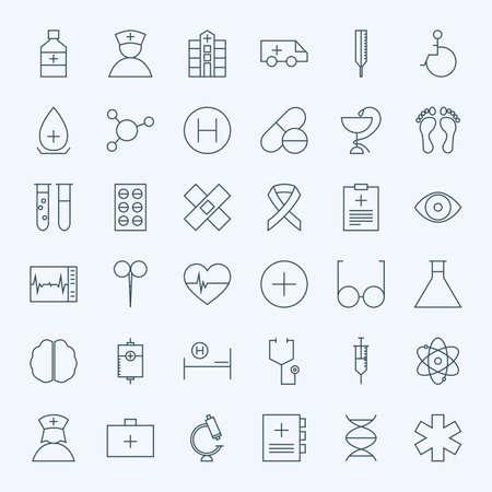 Line Gezondheidszorg en Medische Icons Set. Vector Set van 36 medische en gezondheidszorg Modern Line Pictogrammen voor Web en Mobile