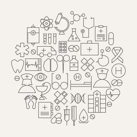 의료 건강 라인 아이콘 설정 원형 모양. 의료 개체의 벡터 일러스트