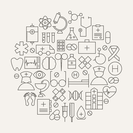 Medical Health Care Line Icons Set Circular Shaped. Vector Illustration of Medical Objects