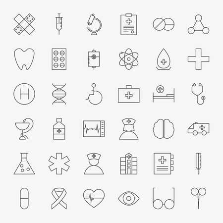 Line Medical Icons Big Set. Vector Set of 36 Medical and Healthcare Modern Thin Line Icons for Web and Mobile