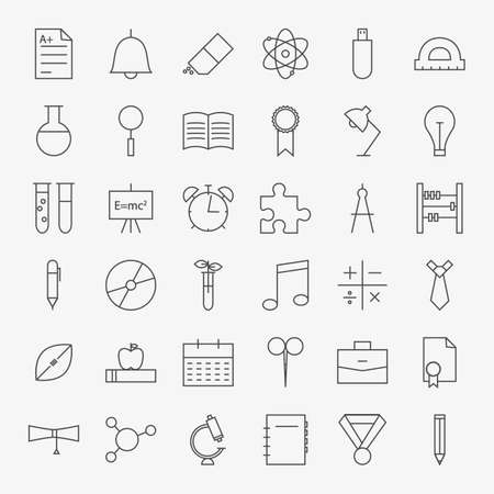 Line School and Education Icons Big Set. Vector Set of 36 Education and Knowledge Modern Thin Line Icons for Web and Mobile