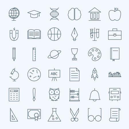 matemáticas: Línea de Educación y Ciencia de conjunto de iconos. Vector Conjunto de 36 Escolar y Conocimiento Línea modernos iconos para web y móvil