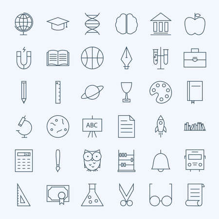 Line Education and Science Icons Set. Vector Set of 36 School and Knowledge Modern Line Icons for Web and Mobile