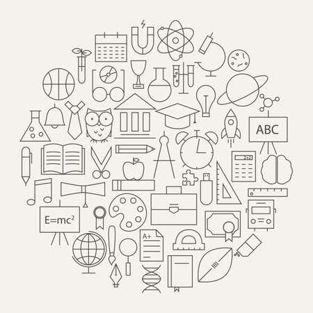 학교 및 교육 라인 과학 아이콘 원형을 설정합니다. 지식 개체의 벡터 일러스트 레이 션