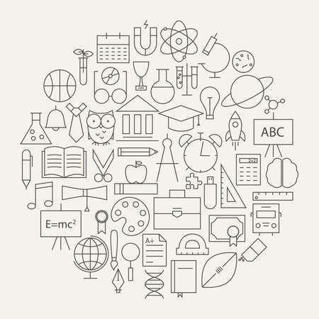 School and Education Line Science Icons Set Circular Shaped. Vector Illustration of Knowledge Objects