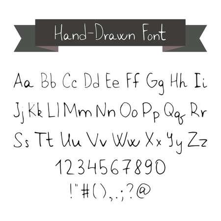 lettres alphabet: Encre Noire Thin Pen Hand Drawn police. Illustration Vecteur de type police Typographie Elements