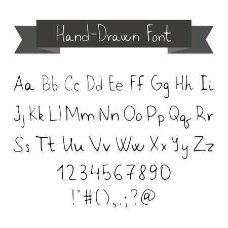font alphabet: Thin Ink Black Pen Hand Drawn Font. Vector Illustration of Type Font Typography Elements