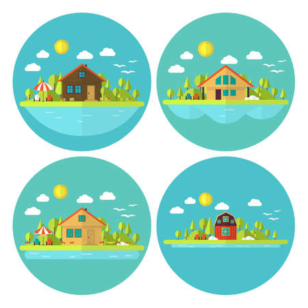 Wooden Cabin Holiday House Landscape Circle Flat Icon Set. Flat Stylized Four Circle Shaped Icons Set with Nature Village Landscapes Vector