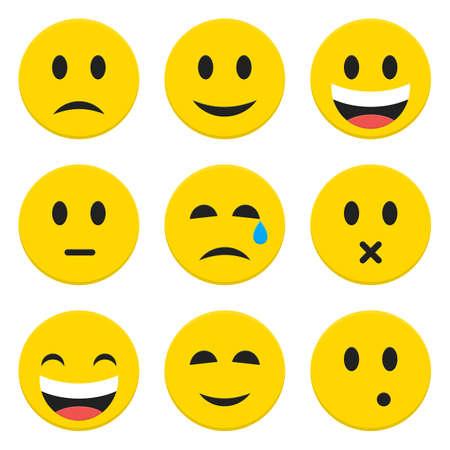 happiness: Carácter Emociones feliz y triste iconos vectoriales conjunto aislado sobre blanco. Flat Set iconos ilustración vectorial Vectores