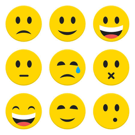 laugh emoticon: Character Emotions Happy and Sad Vector Icons Set Isolated over White. Flat Set Icons Isolated Vector Illustration