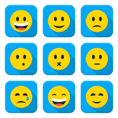 Character Emotions Vector App Icons Set Isolated over White. Flat Application Icons with Long Shadow Set Isolated Vector Illustration Vettoriali