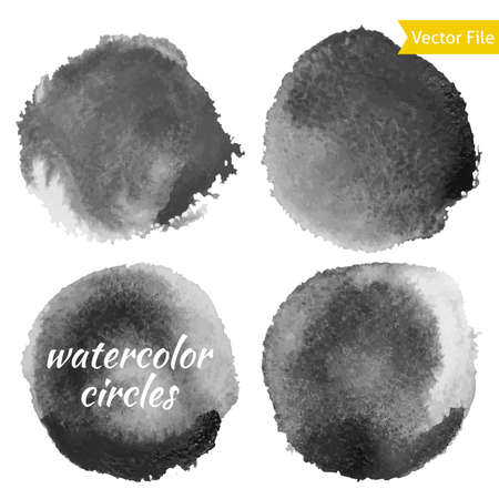 grunge shape: Dark Grey Watercolor Vector Circles Set. Isolated watercolor paint circles over white background. Retro background. Hand drawn Abstract Grunge shape for Business background.