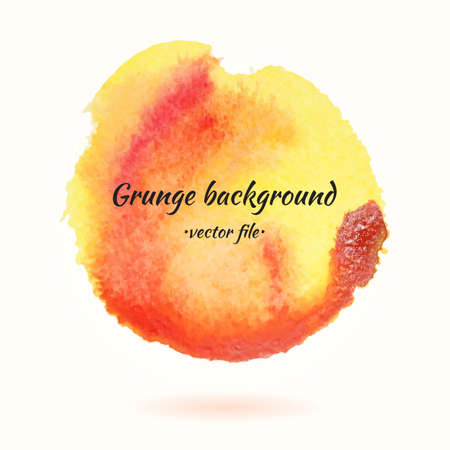 Watercolor Grunge Background Vector Yellow and Orange Circle. Isolated Vector Watercolor Hand Drawn Paint Circle. Grunge Abstract watercolor colorful background for business design. Advertisement and presentation background.