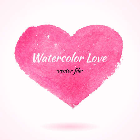 Watercolor Hand Drawn Vector Heart. Isolated Vector Watercolor Hand Drawn Paint Design Element. Colorful background for business design. Advertisement and presentation background. Watercolor Love Vector