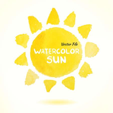 Desenhado da aguarela Mão Vector Sun. Isolado Vector Watercolor Mão Pintura Desenhada Elemento de desenho. Fundo colorido para o projeto de negócios. Publicidade e apresentação de fundo. Watercolor Sun