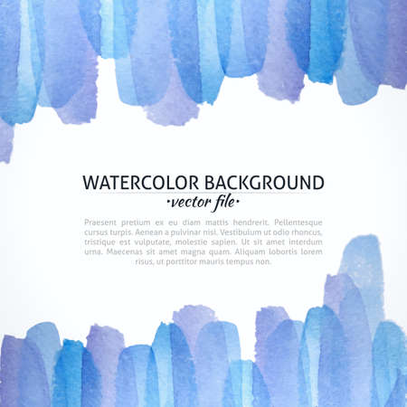 Watercolor Vector Blue and Purple Abstract Background. Blue Watercolor Banner for web design. Vector illustration. Advertisement and promotion background. Vector