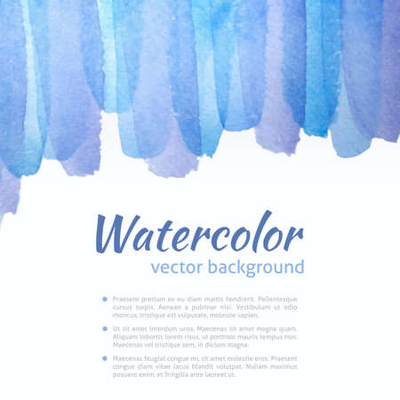 Watercolor Vector Blue and Purple Background. Bright Blue Watercolor Banner for web design. Vector illustration. Advertisement and promotion background. Vector