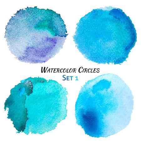 수채화 파란색과 보라색 다채로운 서클 설정합니다. 흰색 배경 위에 고립 된 다채로운 수채화 페인트 원. 그런 지 배경입니다. 레트로와 빈티지 배경입
