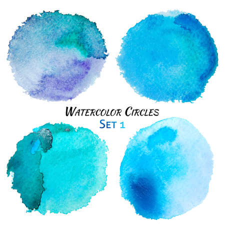 Watercolor Blue and Purple Colorful Circles Set. Colorful isolated watercolor paint circles over white background. Grunge background. Retro and Vintage background. Hand drawn Texture background. Abstract Grunge shape for Business background. Banco de Imagens