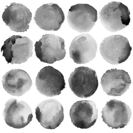 mapped: Watercolor Grey Circles Big Set. Watercolor art photoshop compilation significant grain and abstract dark bit mapped graphics. Graphic arts are a raster. Grunge shape for Business background presentation and advertising. Stock Photo