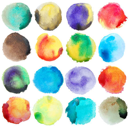 photoshop: Watercolor Colorful Circles Big Set. Watercolor art photoshop compilation significant grain and abstract colorful bit mapped graphics. Graphic arts are a raster. Grunge shape for Business background presentation and advertising. Stock Photo