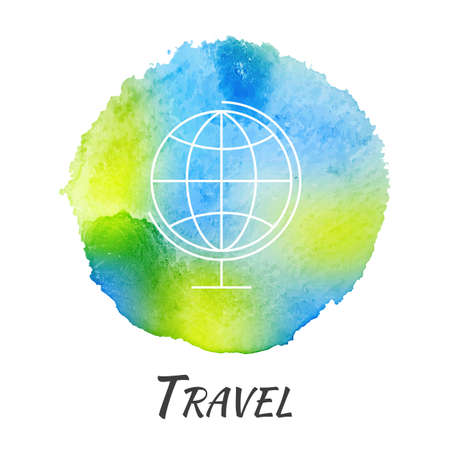 watercolors: World Globe Travel Vector Watercolor Concept. Education School Geography. Isolated Vector Watercolor Hand Drawn Paint Design Element. Colorful background for business design. Advertisement and presentation background.