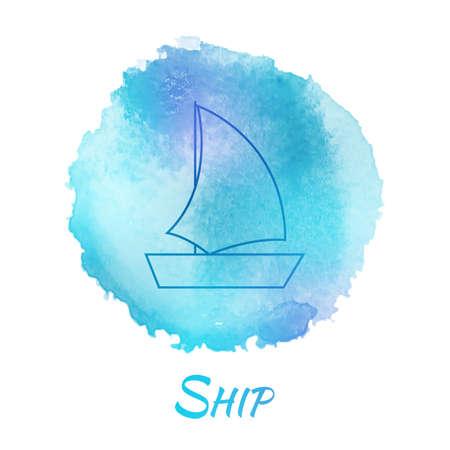 yacht isolated: Mar Barco Marina vectorial Acuarela Concept. Transporte Yate Barco. Aislados de pintura Drawn Vector Acuarela mano elemento de dise�o. Fondo colorido para el dise�o de negocios. Publicidad y fondo de la presentaci�n. Vectores