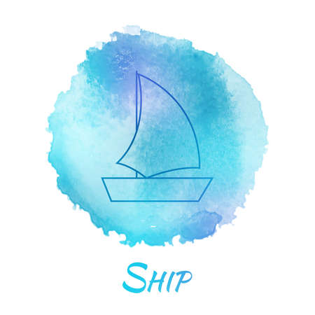 yacht isolated: Sea Ship Marine Vector Watercolor Concept. Transport Boat Yacht. Isolated Vector Watercolor Hand Drawn Paint Design Element. Colorful background for business design. Advertisement and presentation background.