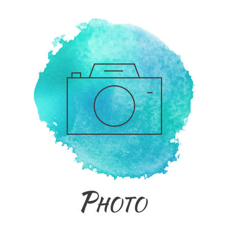 lens brush: Photo Camera Vector Watercolor Concept. Photography. Camera. Isolated Vector Watercolor Hand Drawn Paint Design Element. Colorful background for business design. Advertisement and presentation background.