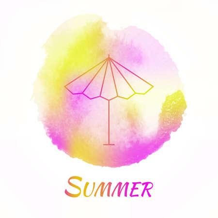 sonnenschirm: Summer Sun Umbrella Vektor Aquarell Konzept. Sonnenschirm. Isolated Vector Hand gezeichnete Aquarell, Farbe, Design-Element. Bunter Hintergrund f�r Business-Design. Werbung und Pr�sentation Hintergrund. Illustration