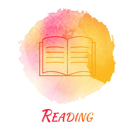 Reading Book Vector Watercolor Concept. Open Paper Book. Isolated ...