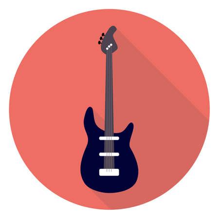 gitara: Guitar Flat Koło Ikona. Płaski Ilustracja stylizowane Vector z długim cieniem. Instrument muzyczny z płaskim stylizowane. Rock Guitar.