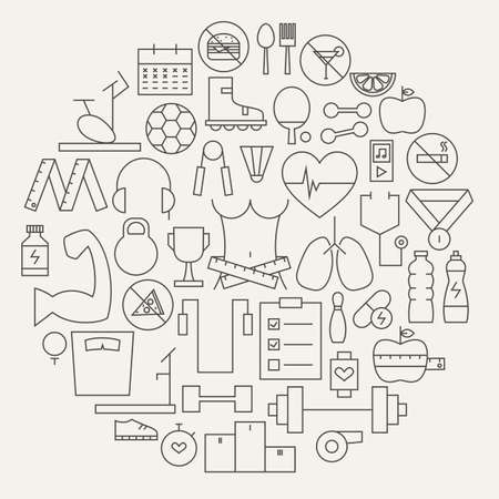 dieting: Fitness and Dieting Line Icons Set Circular Shaped. Vector Illustration of Sport and Healthy Lifestyle Objects