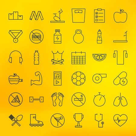 dieting: Fitness and Dieting Line Big Icons Set. Vector Set of Sport and Healthy Lifestyle Modern Thin Line Icons for Web and Mobile over Blurred Background