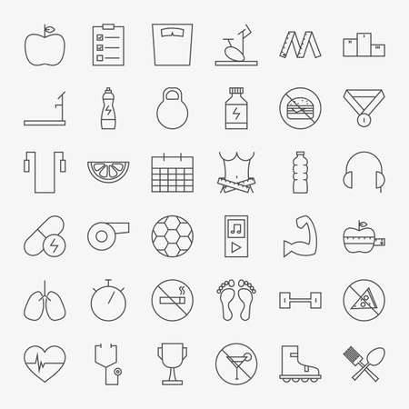 dieting: Line Fitness and Dieting Icons Big Set. Vector Set of 36 Sport Healthy Lifestyle and Dieting Modern Line Icons for Web and Mobile Stock Photo