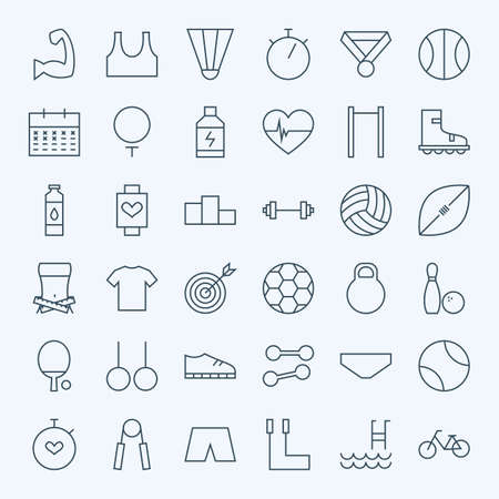 dieting: Line Sport and Fitness Icons Set. Vector Set of 36 Healthy Lifestyle and Dieting Modern Line Icons for Web and Mobile Stock Photo