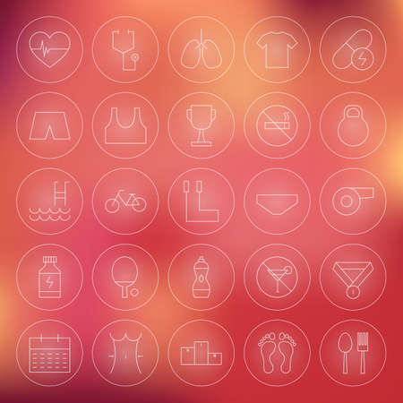 dieting: Sport and Healthy Lifestyle Circle Line Icons Set. Vector Set of Fitness and Dieting Modern Thin Line Icons for Web and Mobile over Blurred Background Stock Photo